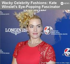 """Kate Winslet wore a gold-toned fascinator. """"Wacky Celebrity Fashion"""" Slideshow: http://abcn.ws/VuW19f — with Kate Winslet."""