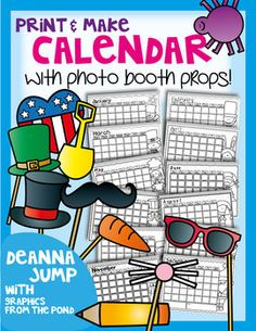 Photo Booth Calendar with Props  {Gift book} mother's day, holiday gift, father's day 5.00