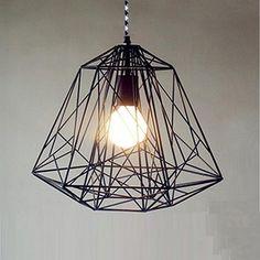 Handmade Pendant Light Chandelier Edison Restoration Industrial style cage diamond