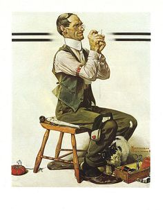 """Threading A Needle"" ... by Norman Rockwell - Saturday Evening Post Cover April 8, 1922"