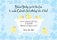 Rubber Ducky birthday parti, birthday invitations