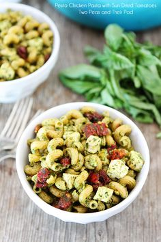 Pesto Chicken Pasta with Sun-Dried Tomatoes Recipe on twopeasandtheirpod.com Love this simple and tasty pasta dish!