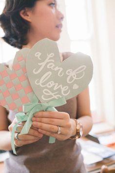 heart wedding fans