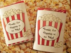 teacher gifts, volunteer gifts, gift ideas, classroom volunt, parent volunteers, appreciation gifts, nurse gifts, thankyou gift, popcorn theme