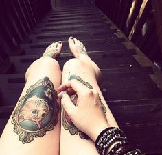 tattoo, tattoos, cat tattoo, suit, gilded frame, thigh