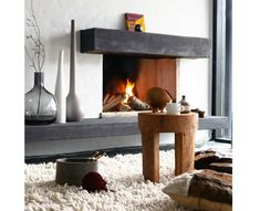 Fireplace with log fire