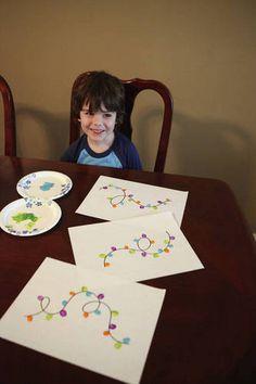 Painted Fingerprint Christmas Lights - MORE ART, LESS CRAFT