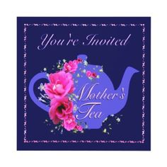 Pretty purple Mother's Day tea invitations.