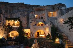 Stay in a cave hotel in Cappadocia, Turkey; the hotel offers comfy cave rooms and cave suites with modern facilities ideally located in the rock hill above the town of Urgup.