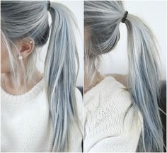 All I would have to do is strip the dye from my hair and streak it with a greyish blue since I already have the white!! White Hair, Grey Hair, Gray Hair, Poni, Hair Colors, Silver Hair, Blue Hair, Beauti, Pony Tails