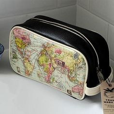 Cute, spacious washbag with a map design