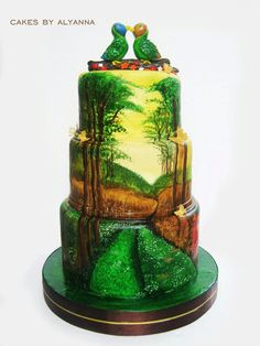 hand painted love birds cake