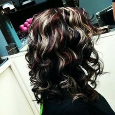 Beautiful hair! Dark brown base with bright blonde and red highlights. Created by Shanon Fletcher, Emporia, KS