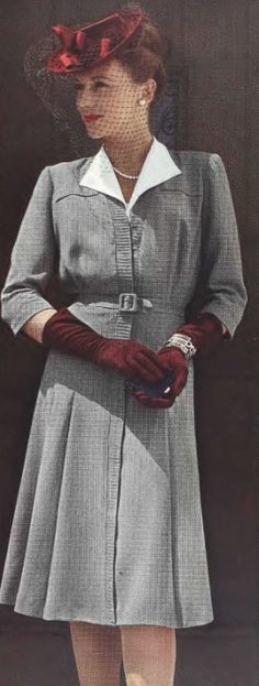 There's a chance I may have pinned this before to another board, but I saw it again and had to pin it to this one for that swoon-worthily gorgeous garnet hued 1940s tilt hat. #vintage #1940s #hats #fashion