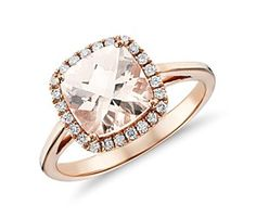 Morganite and Diamond Halo Cushion-Ring in 14k Rose Gold (0.17 ct. tw.) #bluenile #pinthelove