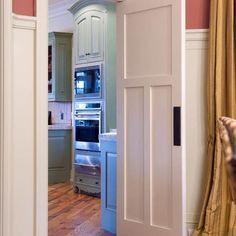 Swinging doors on pinterest interior doors doors and for Interior swinging kitchen doors