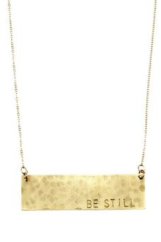 """My favorite necklace of all time: """"Be Still"""" $90 #lovenashelle // net proceeds help cover cancer treatment costs for my dear Steffany"""