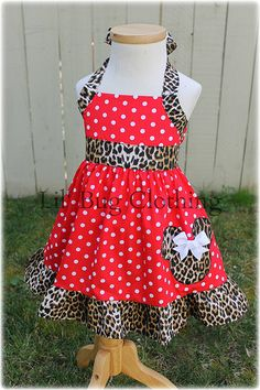 Custom Boutique Clothing Leopard and Red  Minnie Mouse Halter Dress on Etsy, $39.99