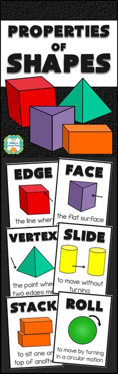 6 posters to teach the properties of solid shapes - edge, face, vertex, slide, stack, and roll