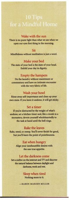 Mindfulness & cleanliness