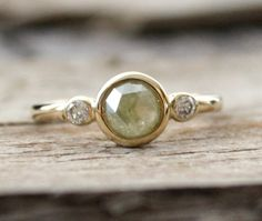 Greenish-grey diamond ring