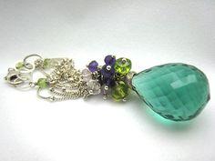Amethyst Necklace Purple Green Pink Peridot by SiennaGraceJewelry,