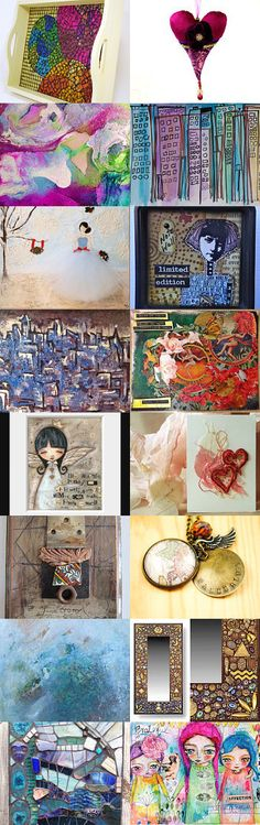 Mixed Media Monday #24 - an etsy.com treasury honoring etsy artisans curated by Carla Bange of CarlasCraft