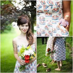 Outdoor Wedding Bridesmaids Print Dresses