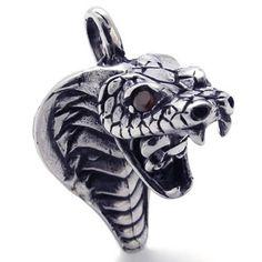 Vintage Men's Gothic Biker Tribal Stainless Steel Cobra Pendant Necklace, Black Silver, 22 inch Chain: KONOV Jewelry: Jewelry