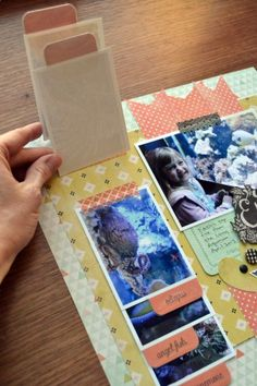 #papercraft #scrapbook #layout  Cute flip photos idea on this page using washi tape & the WRMK Tab Punch (aly dosdall)