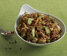 Quinoa and Avocado Salad with Dried Fruit Toasted Almonds and Lemon-Cumin Vinaigrette