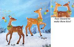 Kissing Christmas Reindeer Outdoors Garden Stake