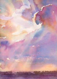 breathtaking! clouds, silver, art prints, sky watercolor, sunset watercolor, yevgenia watt, cloudi sunset, watercolor sky, watercolor sunset
