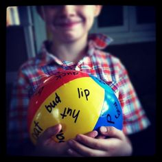 sight word ball. Dollar store beach ball and a sharpie, add new words as you learn them :)