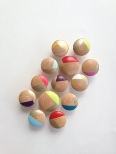 1-1/4 Handpainted wood hardware, drawer pulls, cabinet pulls, gold and assorted colors, turquoise, pink, red, white, mint, teal, purple