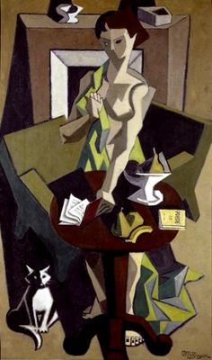 The Green Robe (and the cat) | oil painting, 1912-1914 | Jean Metzinger