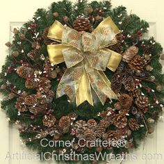 Country Christmas Wreath - 2013 - Our classic Country Christmas Wreath is sure to add a touch of old fashioned Country charm! - #ChristmasWreaths #ArtificialChristmasWreaths #Wreath #Wreaths