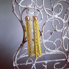Yellow fringe earrings. Great for LSU games! $18 www.facebook.com/maisonhebert