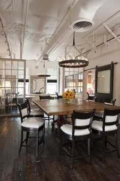 Alternative to white lacquer floors - more rustic; could work with building's columns