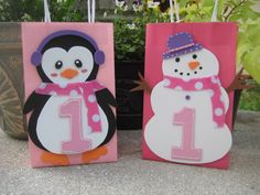 Snowman Birthday Party favor bag. I can make these. :)