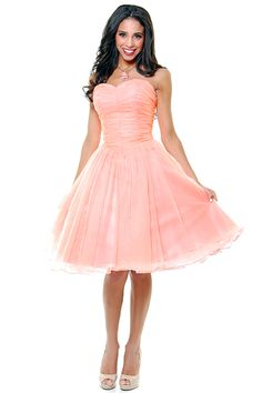 Sweet As Peach Pie Strapless Chiffon Swing Dress - Unique Vintage - Homecoming Dresses, Pinup & Prom Dresses.
