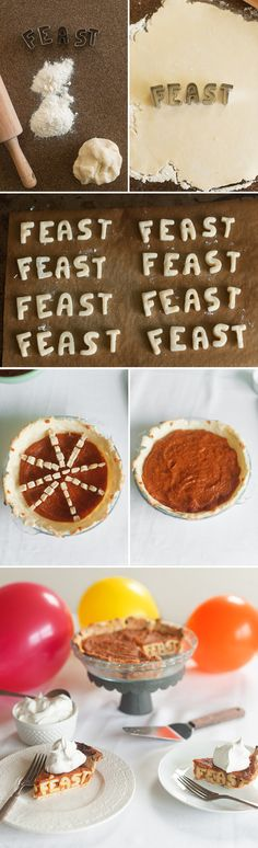 DIY typography pie + thanksgiving treats (photo gallery w/recipe links)