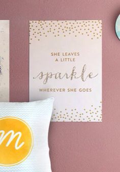 "Pink, Gold and Glitter ""She Leaves a Little Sparkle"" Nursery Artwork - 8x10 INSTANT DOWNLOAD"