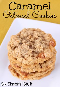 Chewy Caramel Oatmeal Cookies from SixSistersStuff.com.