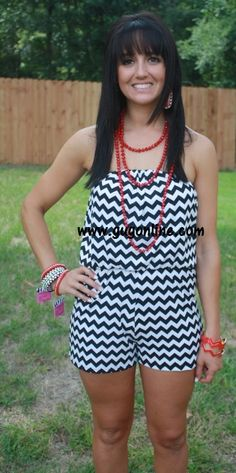 Contrast At Last Chevron Romper in Black and White www.gugonline.com $24.95