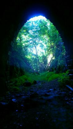 Looking out of the train tunnel in waynesboro Virginia.