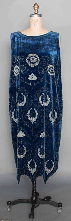 Circa 1920 blue velvet and bead gown.