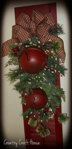 I have the shutter.......would use rusty bells instead of red ones........maybe add a Merry Christmas sign or burlap ribbon? christmas signs, christmas bells, jingle bells, country christmas wreaths, christmas shutters, shutter crafts, bow, christma craft, christma countri