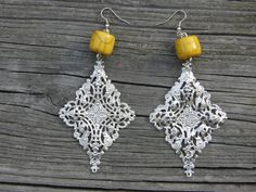 Yellow stone and Stamped Filigree by SavannahVoodoo on Etsy, $9.00