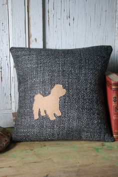Malti-Poo Maltese Dog Silhouette Pillow Cover by SmokinTweed
